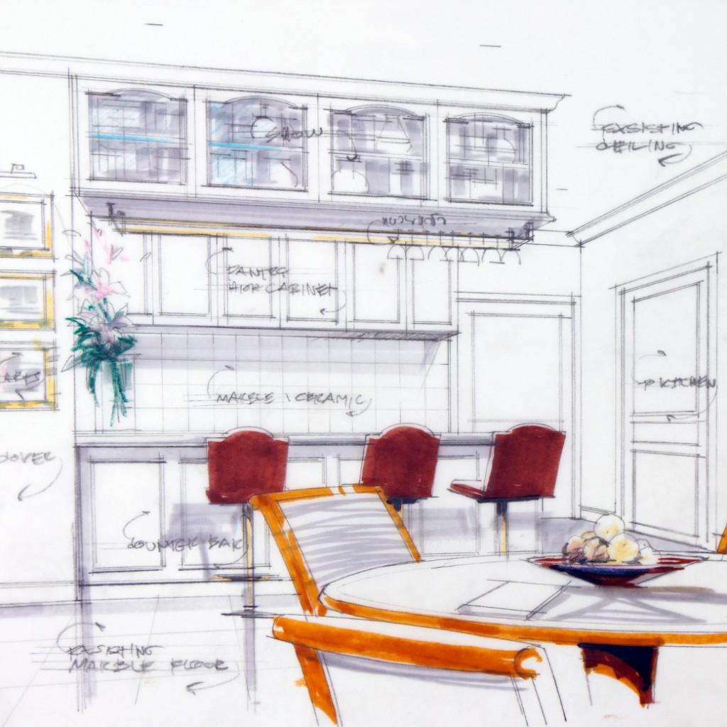 abstract design sketch of kitchen interior